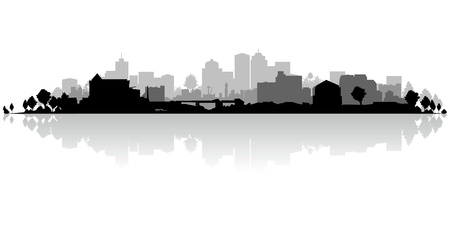 town modern home: black and white cityscape Illustration