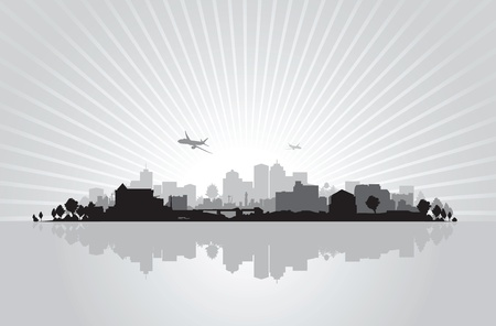 rises: cityscape background