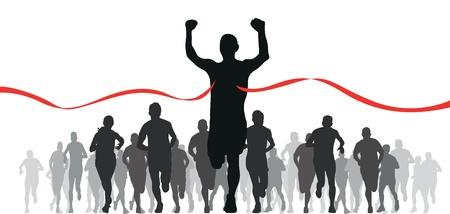 course � pied: groupe de coureurs Illustration