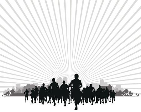 donna che corre: gruppo di corridori Vettoriali