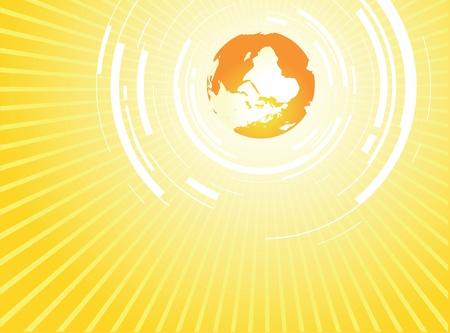 abstract sun world background Vector