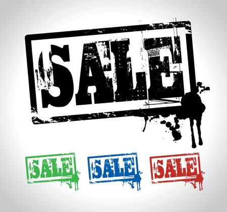 selling off: sale sign stamp