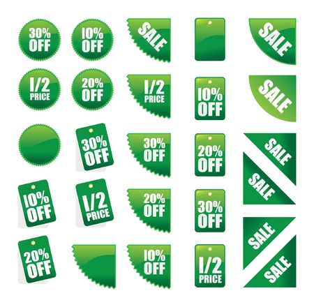 set of green sales signs Vector