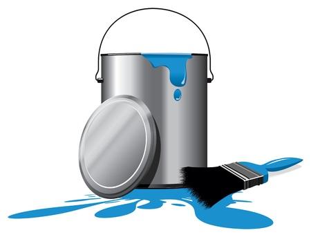 버킷: 파란색 페인트 냄비 일러스트