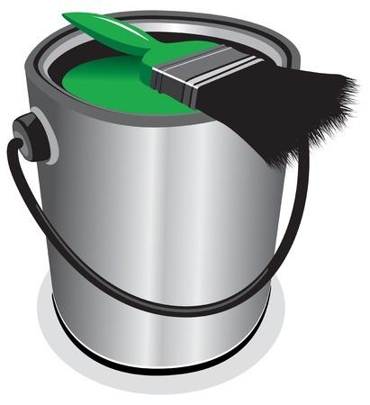 painter and decorator: green paint pot