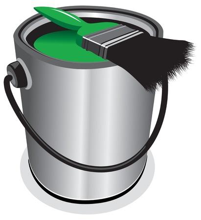 verfblik: groene verfpot Stock Illustratie