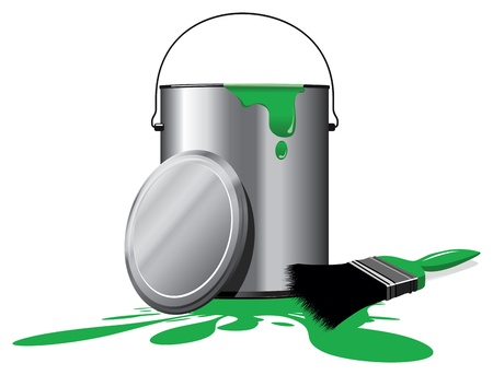 버킷: 녹색 페인트 냄비 일러스트