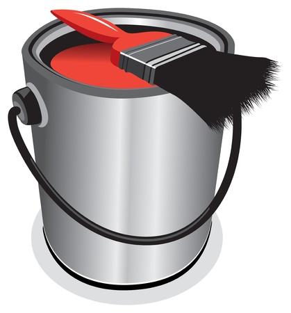 paint tin: red paint pot