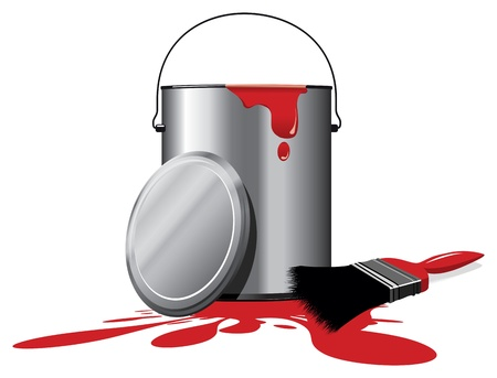 paint cans: red paint pot