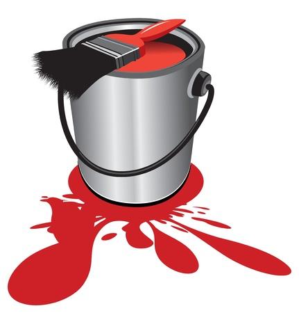 pot de peinture rouge