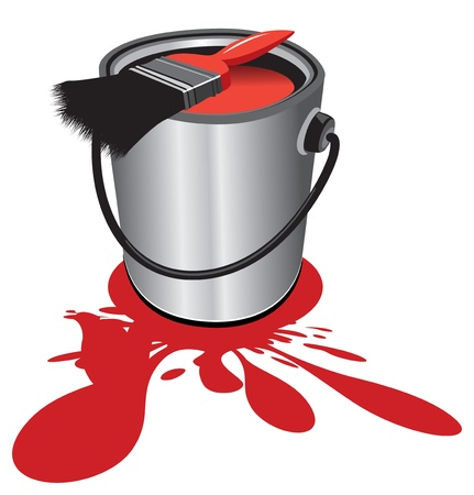paint can: red paint pot