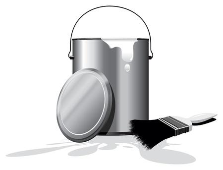spillage: bote de pintura blanca