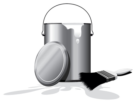 spillage: white paint pot Illustration