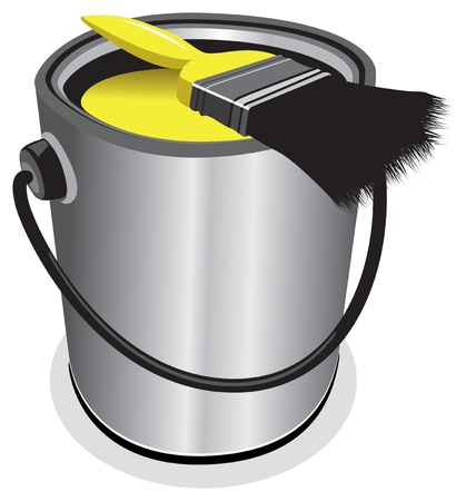 paint cans: yellow paint pot