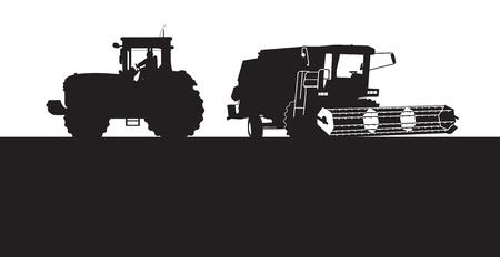 cosechadora: se combinan y el tractor Vectores