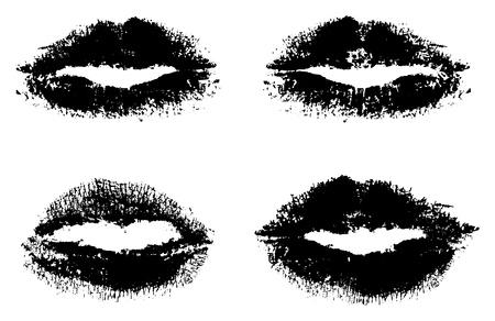 lip silhouette set Vector