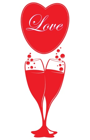 two glasses of champagne and a heart Vector