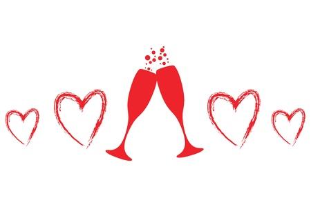 glas kunst: twee glazen champagne met hartjes