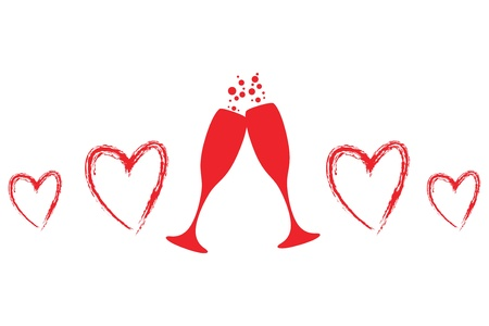 glass heart: two glasses of champagne with hearts