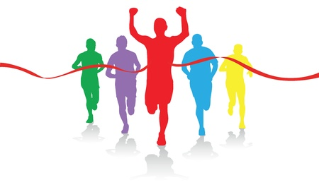 tape line: colorful group of runners Illustration