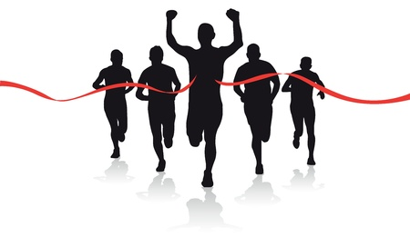 tape line: a group of runner silhouettes Illustration