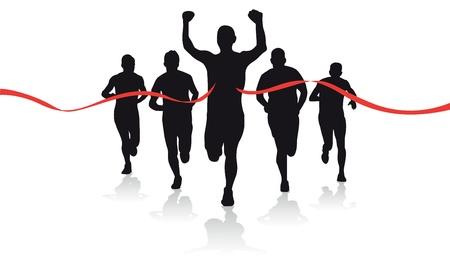 coureur: un groupe de silhouettes coureur Illustration