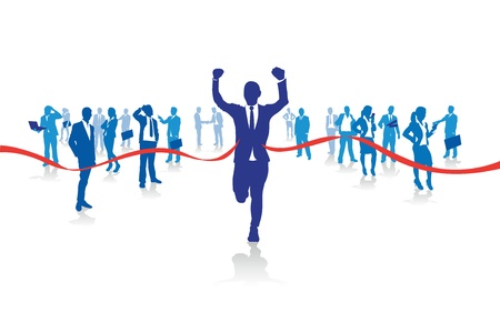 tape line: a business man running from the crowd