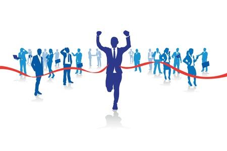 hombres de negocios: un hombre de negocios que va desde la multitud Vectores