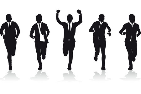 win money: a group of business runners silhouettes Illustration