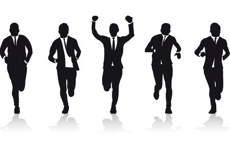 gagnants: un groupe de silhouettes coureurs d'affaires Illustration
