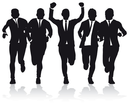 a group of business runners silhouettes Иллюстрация