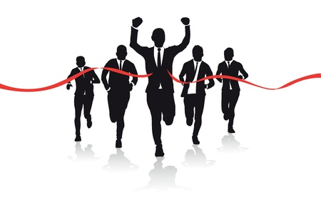 a group of business runners silhouettes Vector