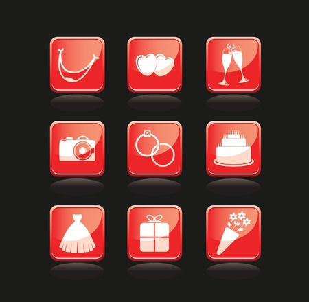 set of wedding icons Vector