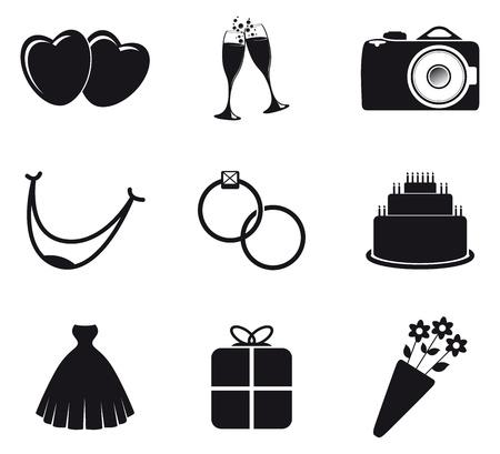 black wedding couple: set of wedding icons Illustration