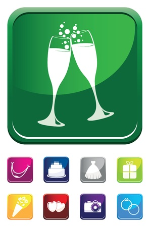champagne wedding symbol Vector
