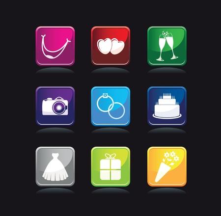multi colored wedding symbols Stock Vector - 12883546