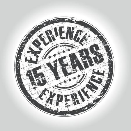 경험: 15 년의 경험 스탬프 일러스트