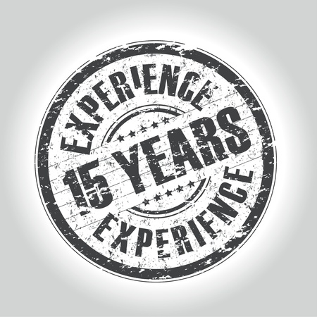 15: 15 years experience stamp