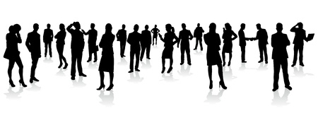 business people walking: business people silhouettes