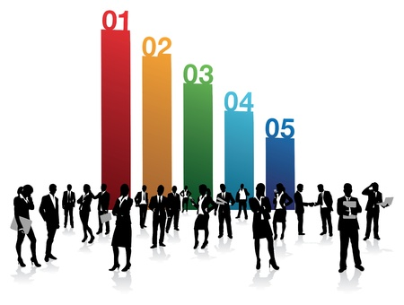 one on one meeting: business people on a number background