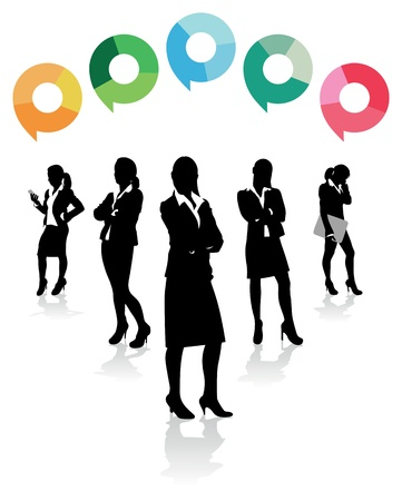 women and men: business women with speech bubbles above