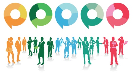voices: business people with speech bubbles Illustration