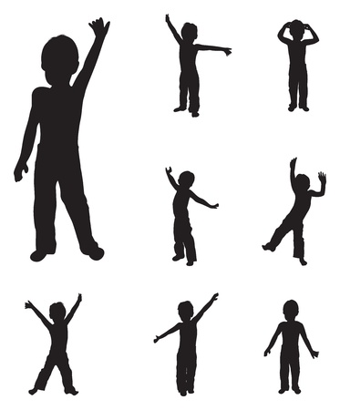 children group: children silhouettes dancing
