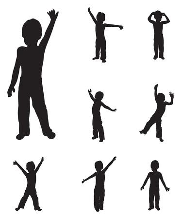 meisje silhouet: kinderen silhouetten dansen