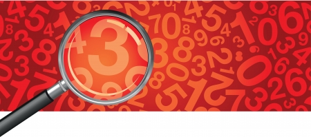 realistic magnifying glass number background Stock Vector - 14307973