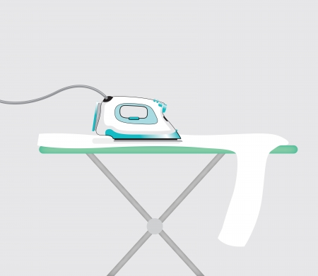 iron: an iron and a ironing board