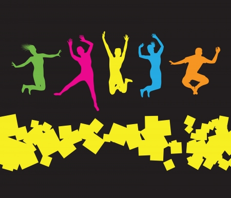 woman jump:  colourful jumping people