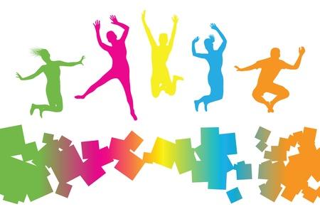 je�ne: color�s personnes sautant Illustration