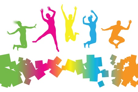 leap:  colourful jumping people