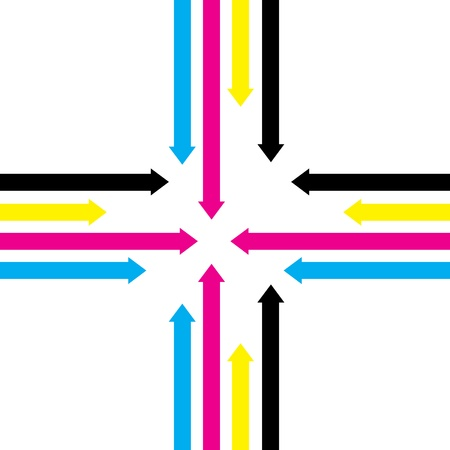 move ahead: cmyk abstract arrow background